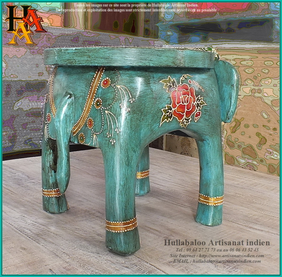 table basse elephant peinte jn9 cav46 meubles indiens. Black Bedroom Furniture Sets. Home Design Ideas