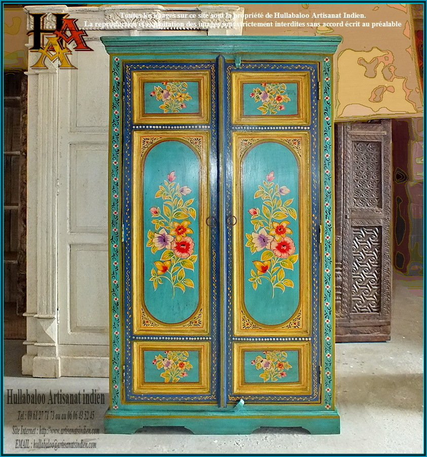 armoire indienne jn9 lajt03 meubles indiens artisanat d. Black Bedroom Furniture Sets. Home Design Ideas