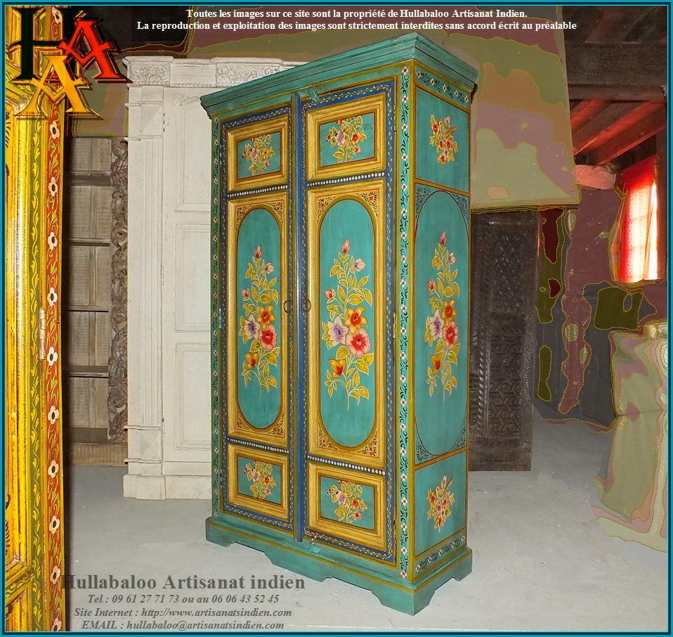 Armoire indienne jn9 lajt03 meubles indiens artisanat d 39 asie - Meubles indiens peints ...