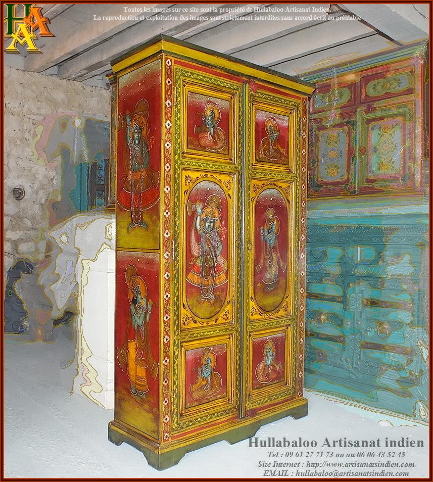 Armoire indienne jn9 lajt04 meubles indiens artisanat indien - Meubles indiens peints ...