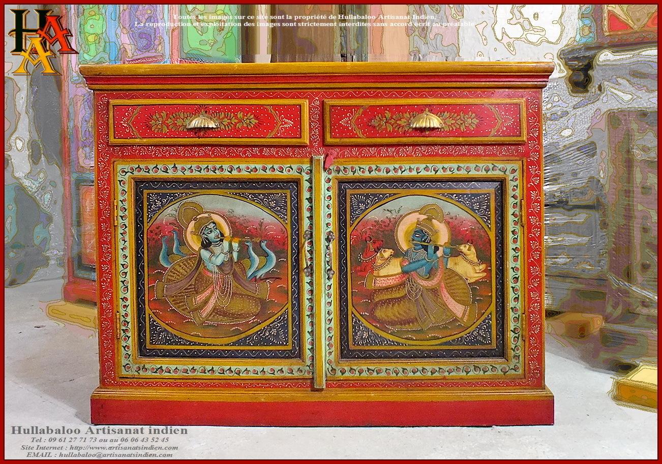 Buffet indien peint jn9 lajt05 meubles indiens artisanat for Meuble indien