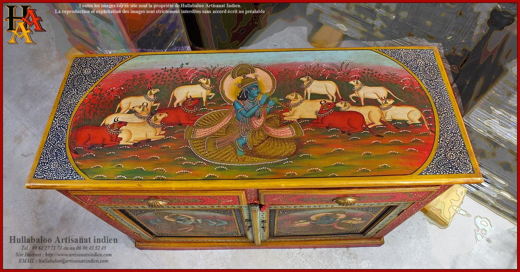 Buffet indien peint jn9 lajt05 meubles indiens artisanat indien - Meubles indiens peints ...