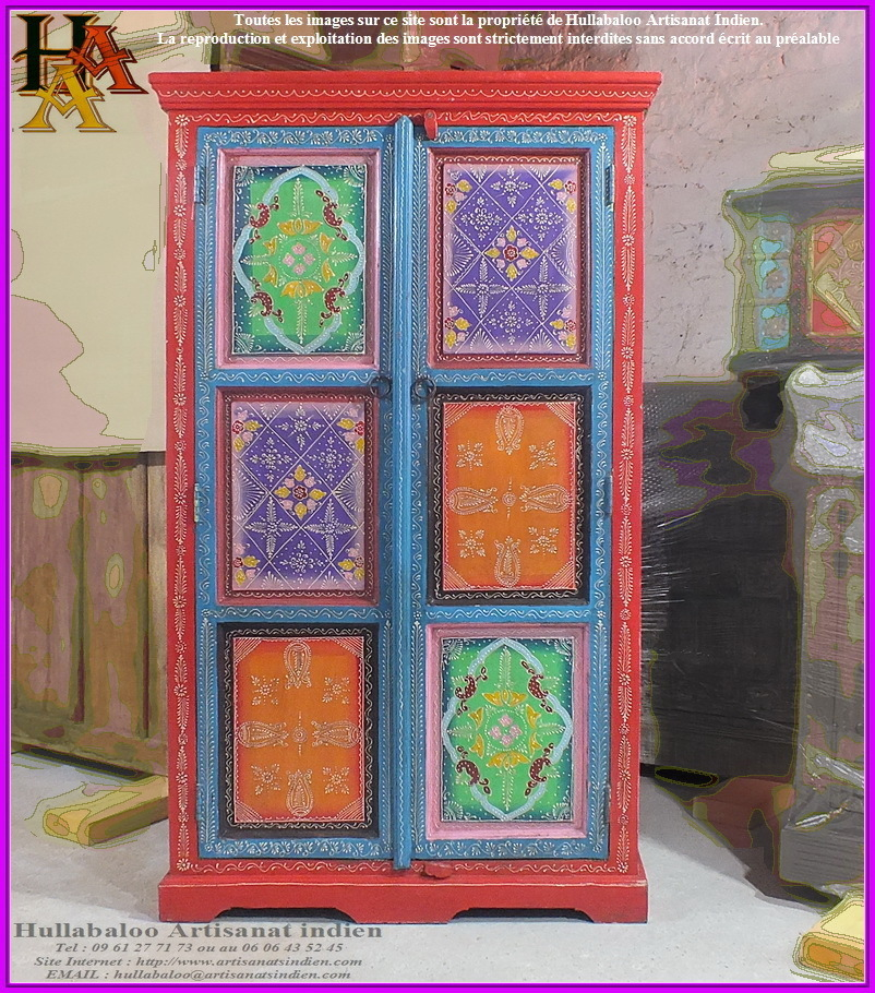 armoire indienne peinte jn9 lajt07 meubles indiens artisanat. Black Bedroom Furniture Sets. Home Design Ideas