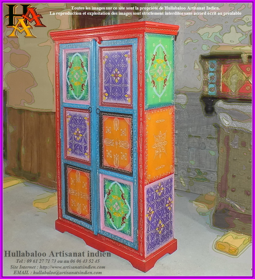 armoire indienne peinte jn9 lajt07 meubles indiens. Black Bedroom Furniture Sets. Home Design Ideas