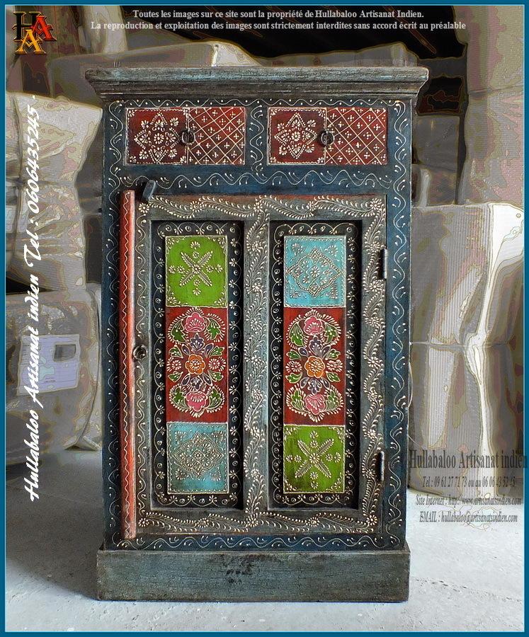 Meuble De Rangement Peint Jn9 Lajt09 Meubles Indiens Artisanat