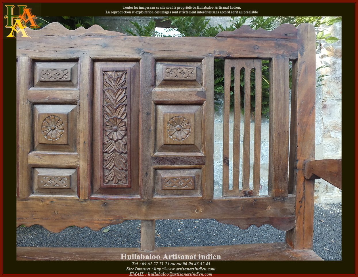 Banc indien ancien restaur jn10 sgh01 meubles indiens for Meuble ancien restaure