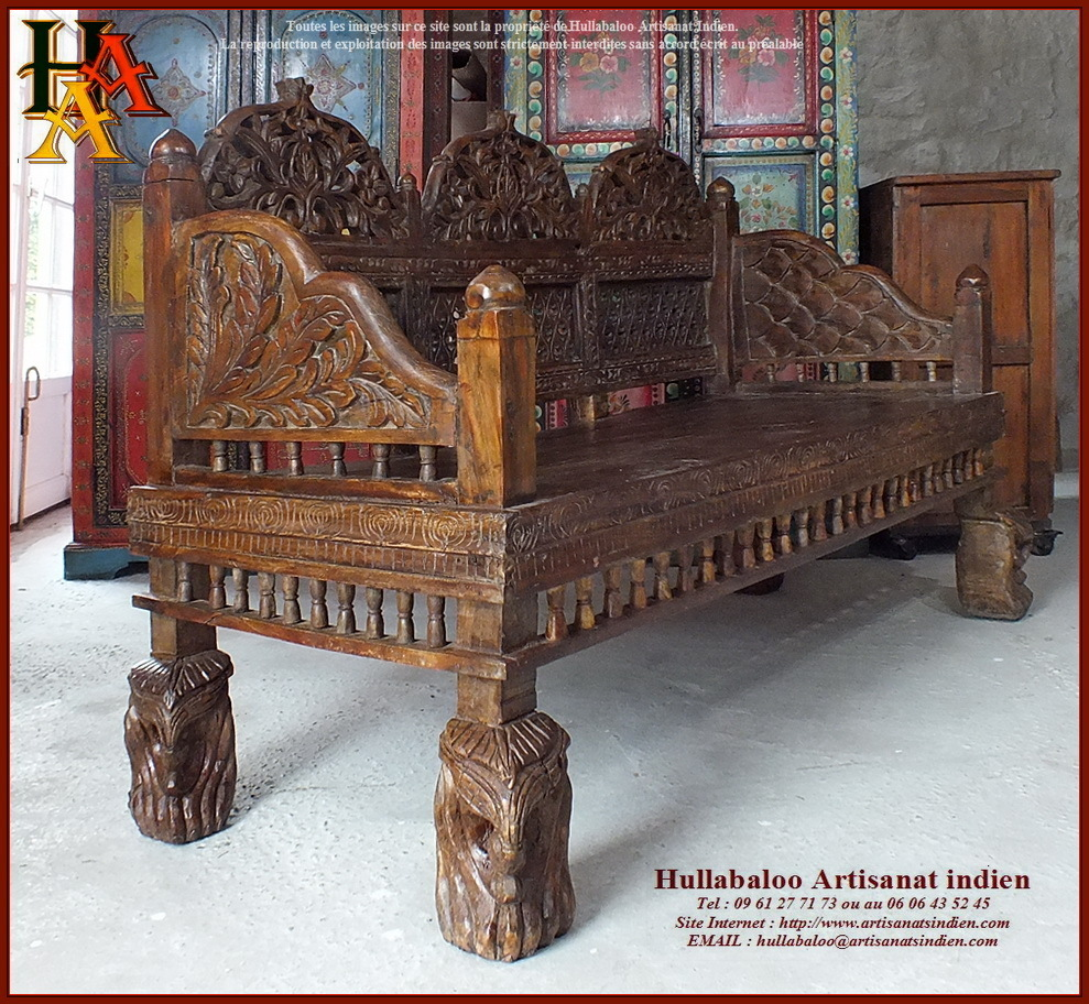 banc indien ancien restaur jn10 sgh02 meubles indiens artisan. Black Bedroom Furniture Sets. Home Design Ideas