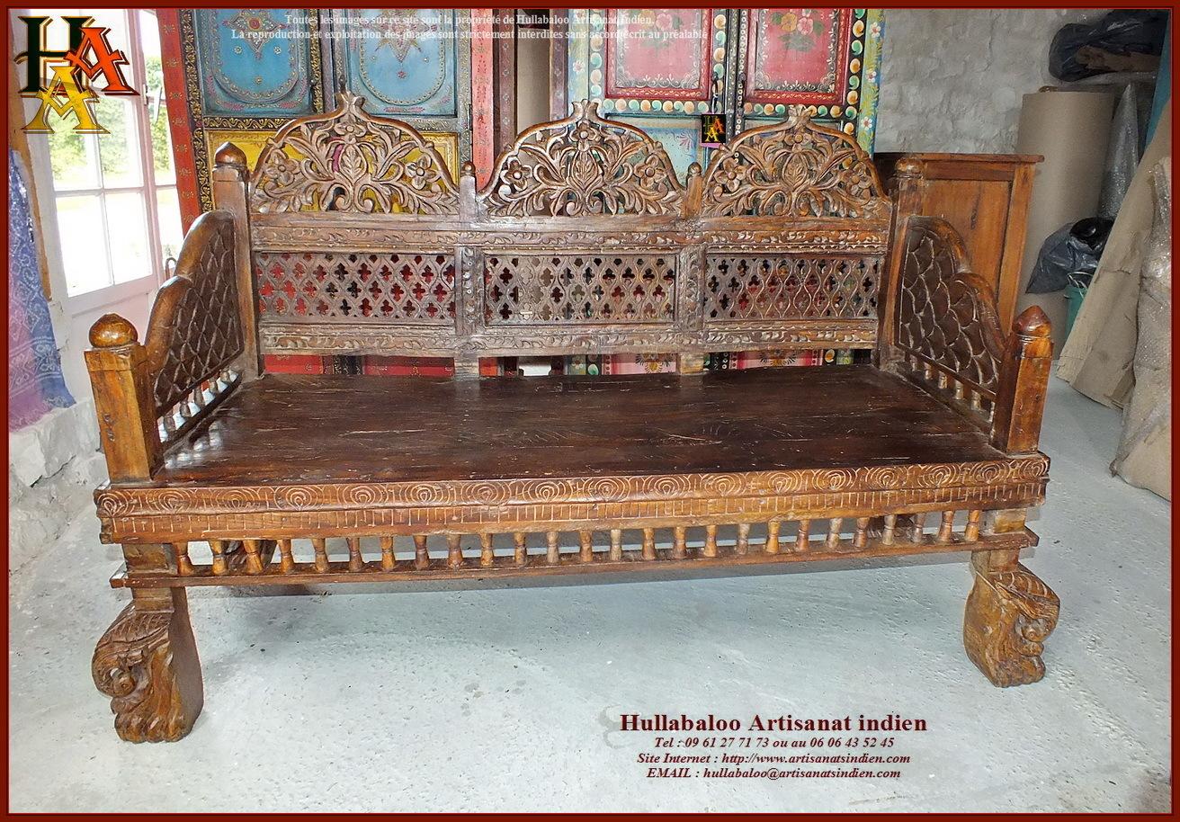 Banc indien ancien restaur jn10 sgh02 meubles indiens for Meubles indiens anciens