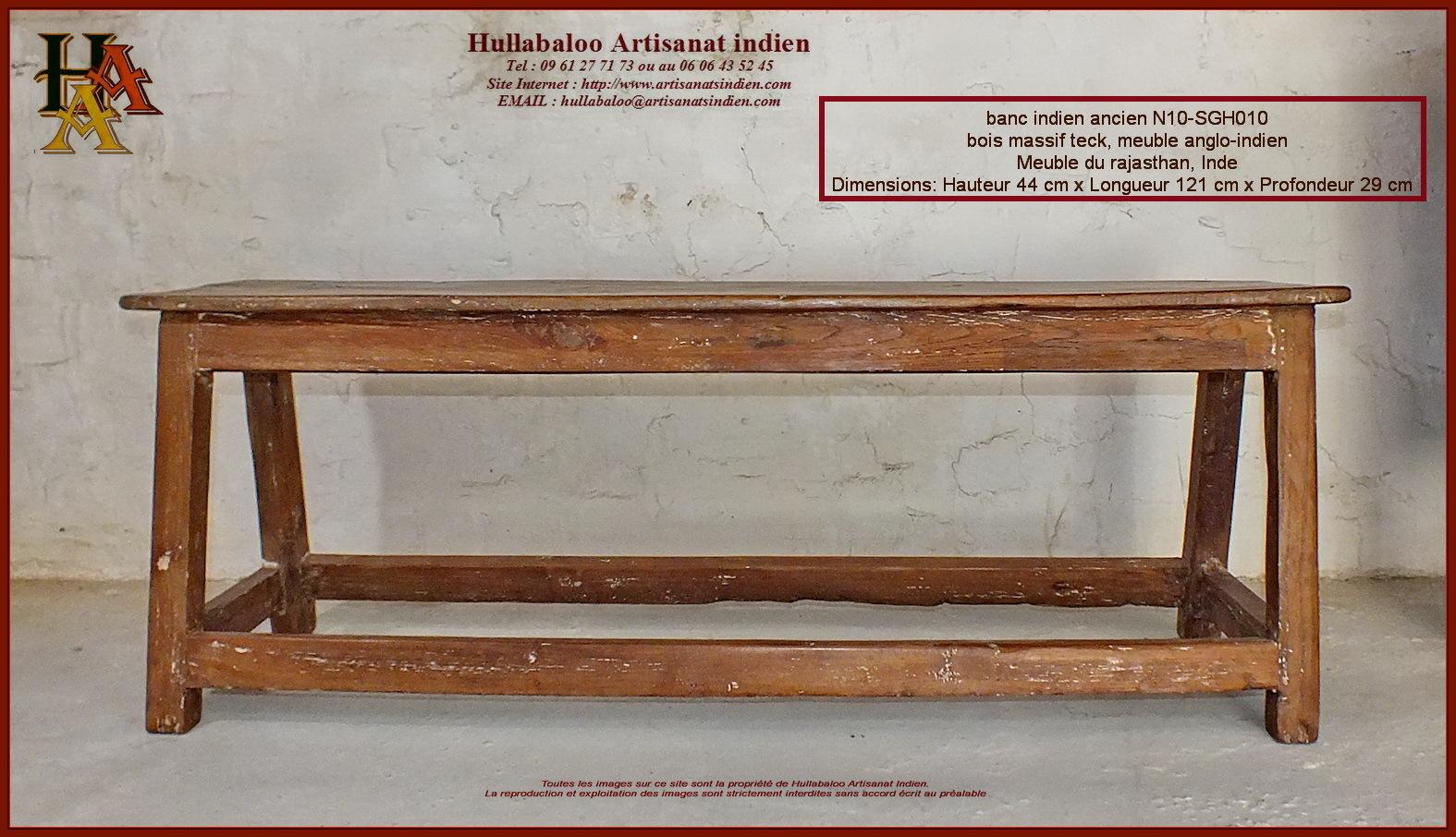 banc indien ancien JN10SGH010, Meubles indiens, Artisanat dAsie -> Banc Bois Inde