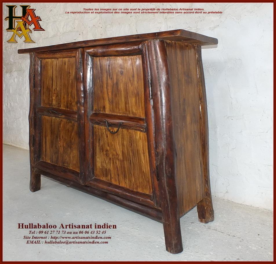 Meuble bas en bois massif jn10 sgh21 meubles indiens for Meubles bois massif