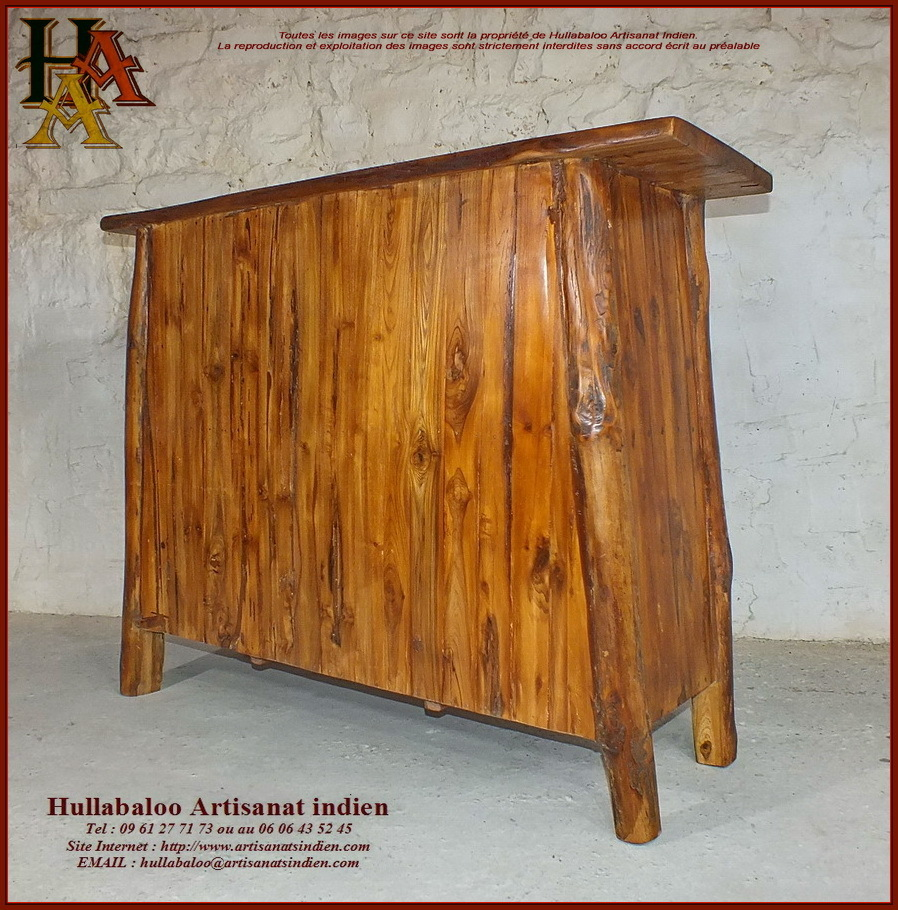 Meuble bas en bois massif jn10 sgh21 meubles indiens for Meuble bas bois massif