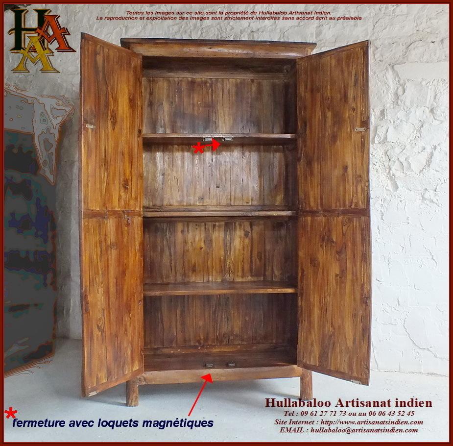 Armoire en bois massif jn10 sgh22 meubles indiens artisanat - Armoire bois pas cher ...