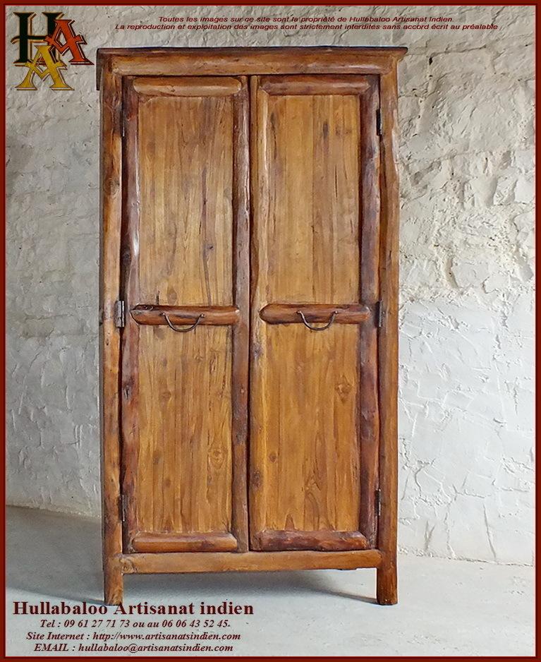 Armoire en bois massif jn10 sgh22 meubles indiens artisanat for Armoire palette bois