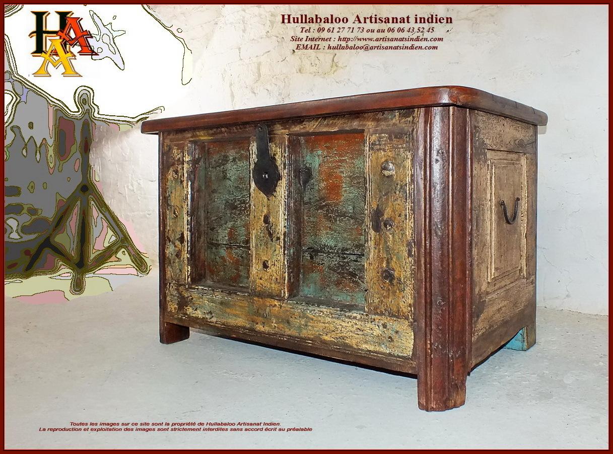 Coffre indien ancien jn10 sgh25a meubles indiens for Meubles indiens anciens