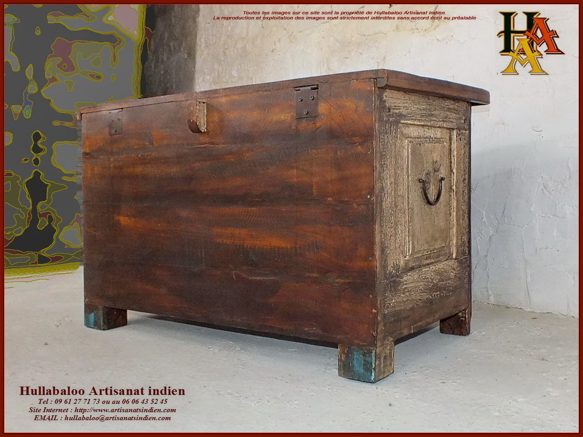 coffre indien ancien jn10 sgh25a meubles indiens artisanat asie. Black Bedroom Furniture Sets. Home Design Ideas