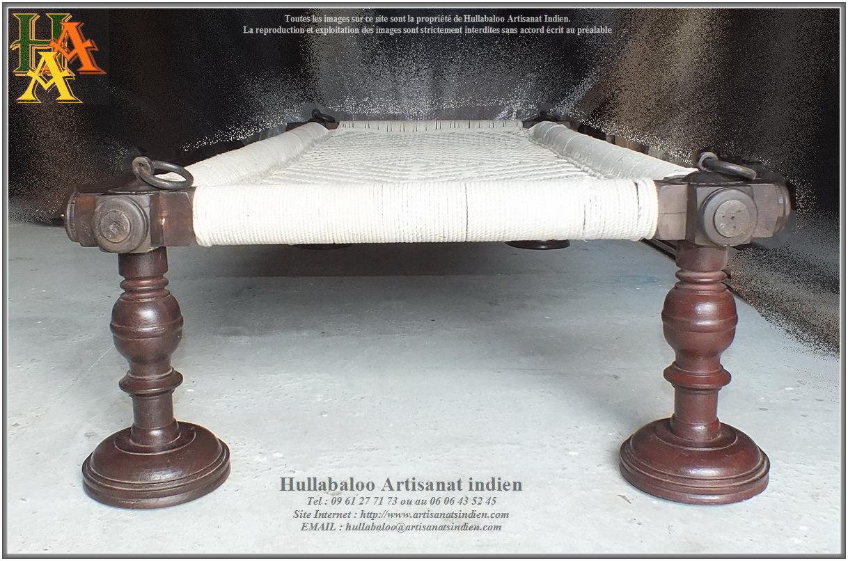 lit indien charpoy ancien jn10 sgh30b meubles indiens artisanat. Black Bedroom Furniture Sets. Home Design Ideas