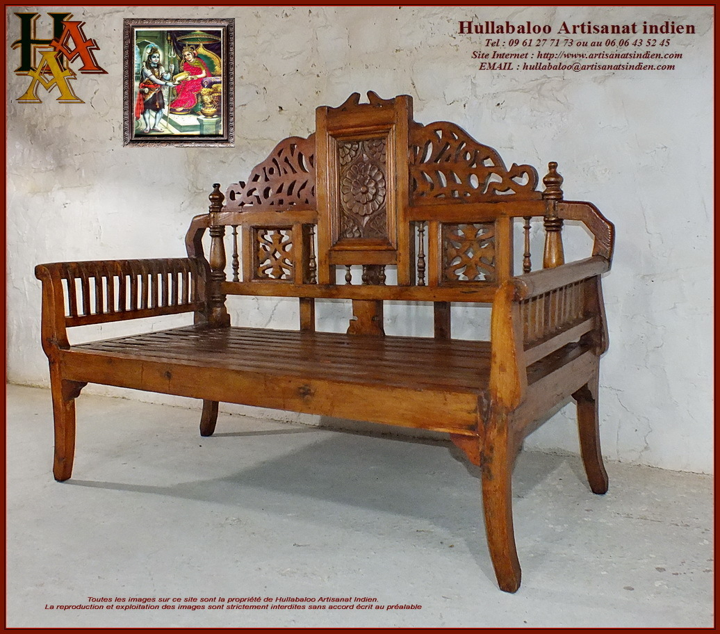 banc indien ancien jn10 sgh48 meubles indiens artisanat d 39 asie. Black Bedroom Furniture Sets. Home Design Ideas