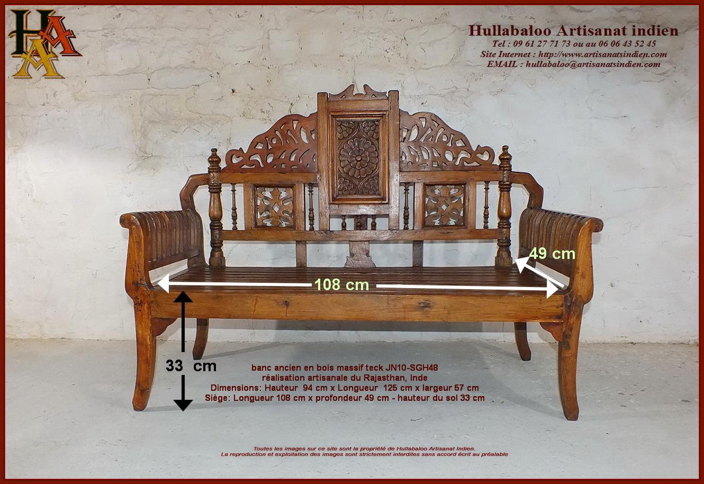 Meubles Indiens Anciens Banc Indien Ancien Jn10 Sgh011 Meubles  # Banc Bois Inde