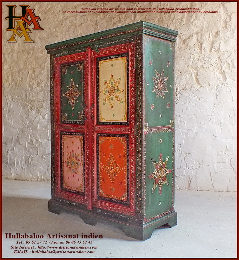 armoire indienne peinte jn10 lajt17 meubles indiens artisanat. Black Bedroom Furniture Sets. Home Design Ideas
