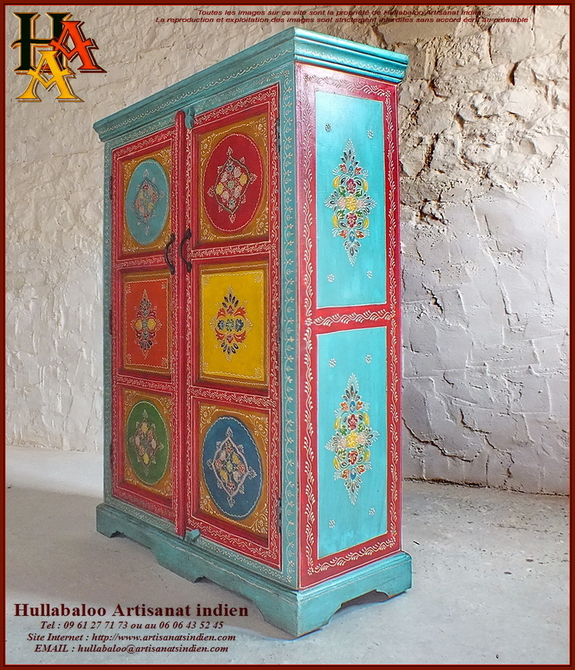 armoire indienne peinte jn10 lajt19 meubles indiens. Black Bedroom Furniture Sets. Home Design Ideas