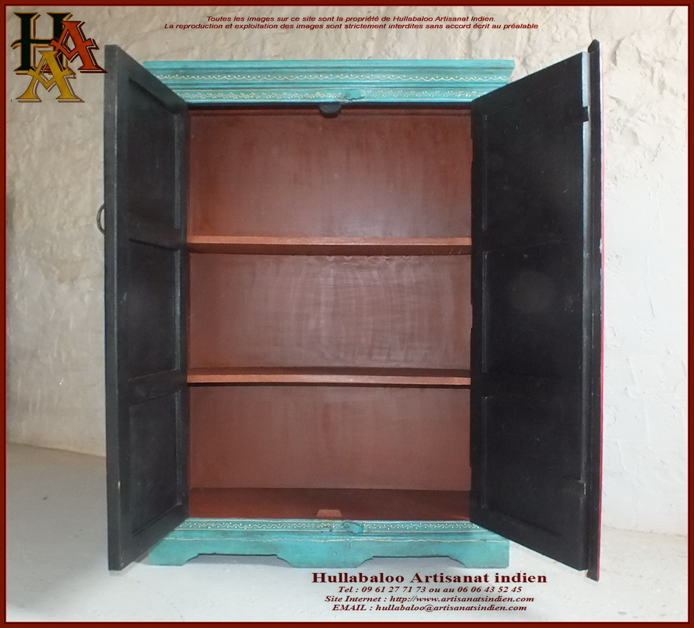 armoire indienne peinte jn10 lajt19 meubles indiens artisanat. Black Bedroom Furniture Sets. Home Design Ideas