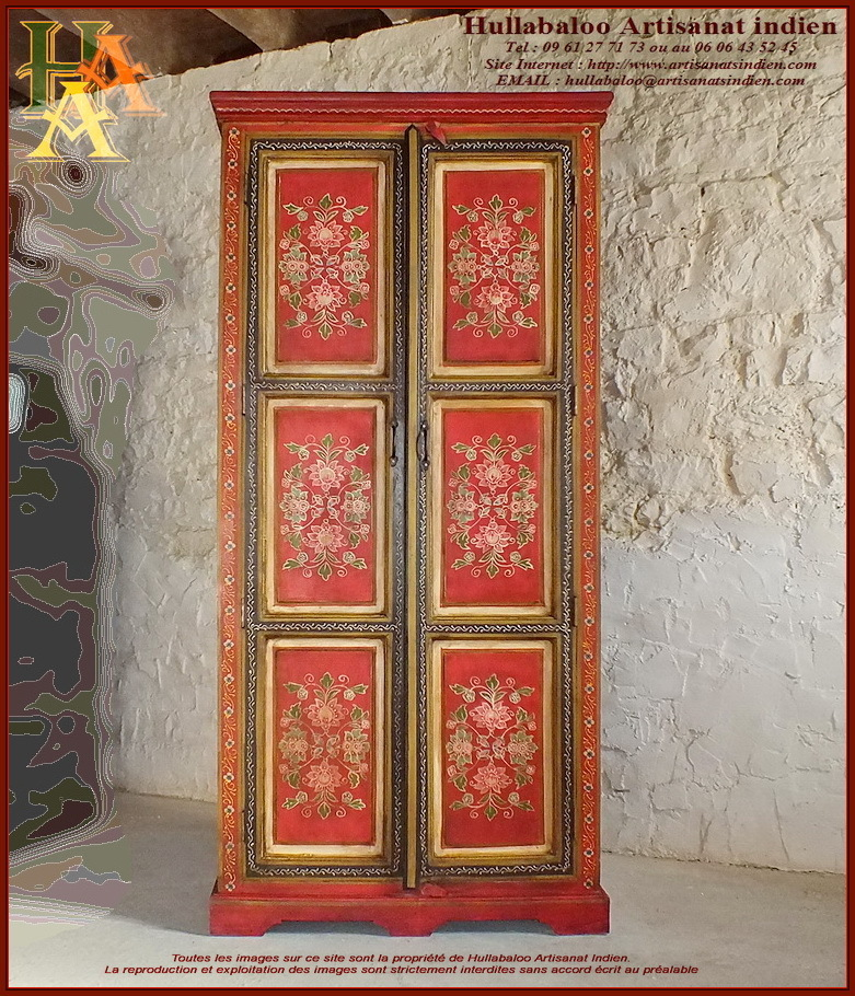 armoire indienne peinte jn10 lajt21 meubles indiens. Black Bedroom Furniture Sets. Home Design Ideas