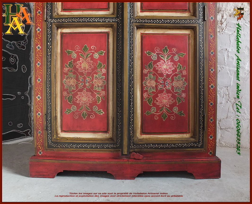 armoire indienne peinte jn10 lajt21 meubles indiens artisanat. Black Bedroom Furniture Sets. Home Design Ideas
