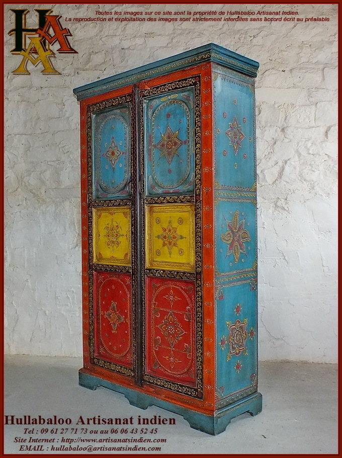 armoire indienne peinte jn10 lajt28 meubles indiens artisanat. Black Bedroom Furniture Sets. Home Design Ideas