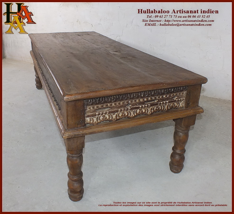 Table basse indienne ancienne for Meubles indiens anciens
