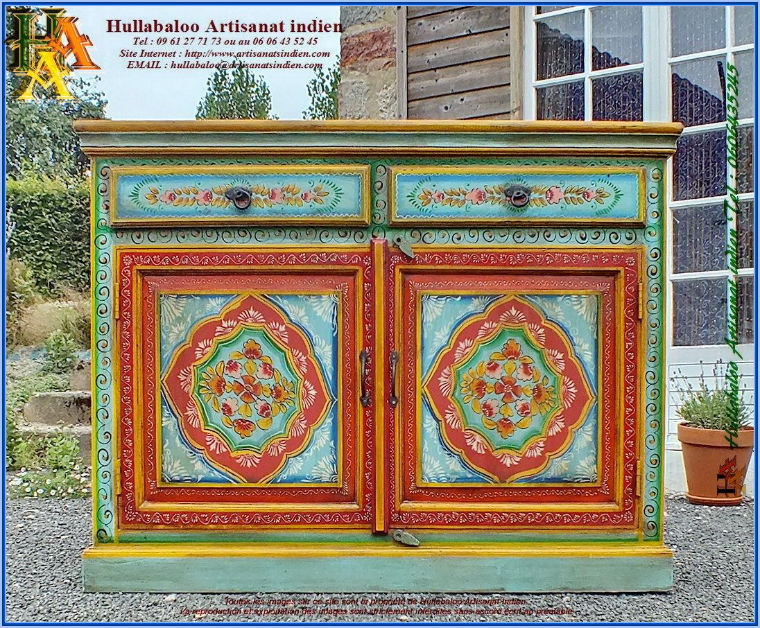 Buffet indien peint jn11 lilt023 meubles indiens meuble for Meuble indien