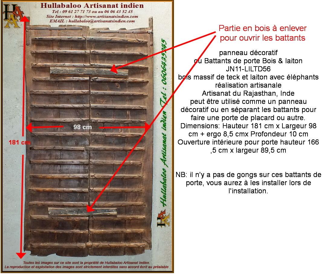 Battants de porte bois laiton jn11 liltd56 meubles indiens - Porte de placard battant en bois ...
