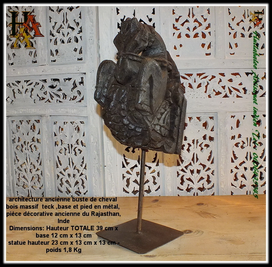 Buste Sur Pied Decoratif architecture ancienne buste de cheval jn7-la671