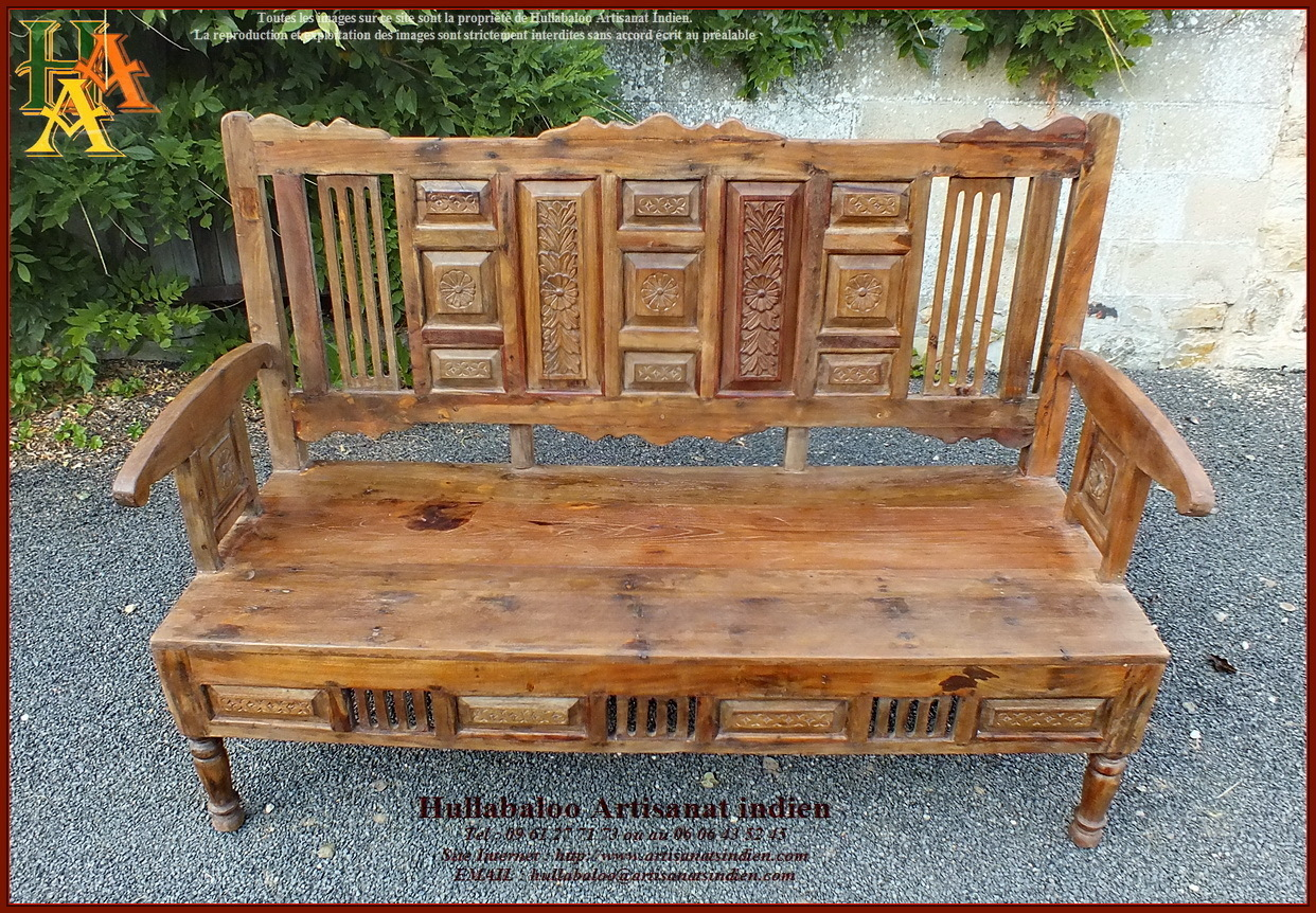 Banc indien ancien restaur bois massif teck meubles indiens - Meuble ancien restaure ...