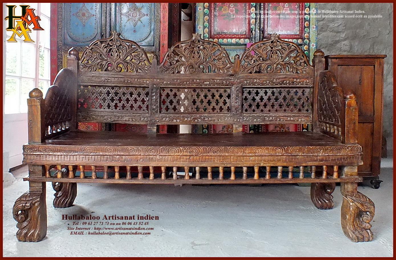 Banc indien ancien restaur jn10 sgh02 meubles indiens artisan - Meuble ancien restaure ...