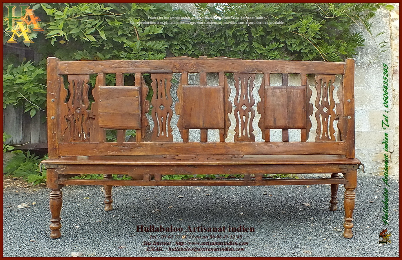 Banc indien ancien restaur jn10 sgh03 meubles indiens artisan - Meuble ancien restaure ...