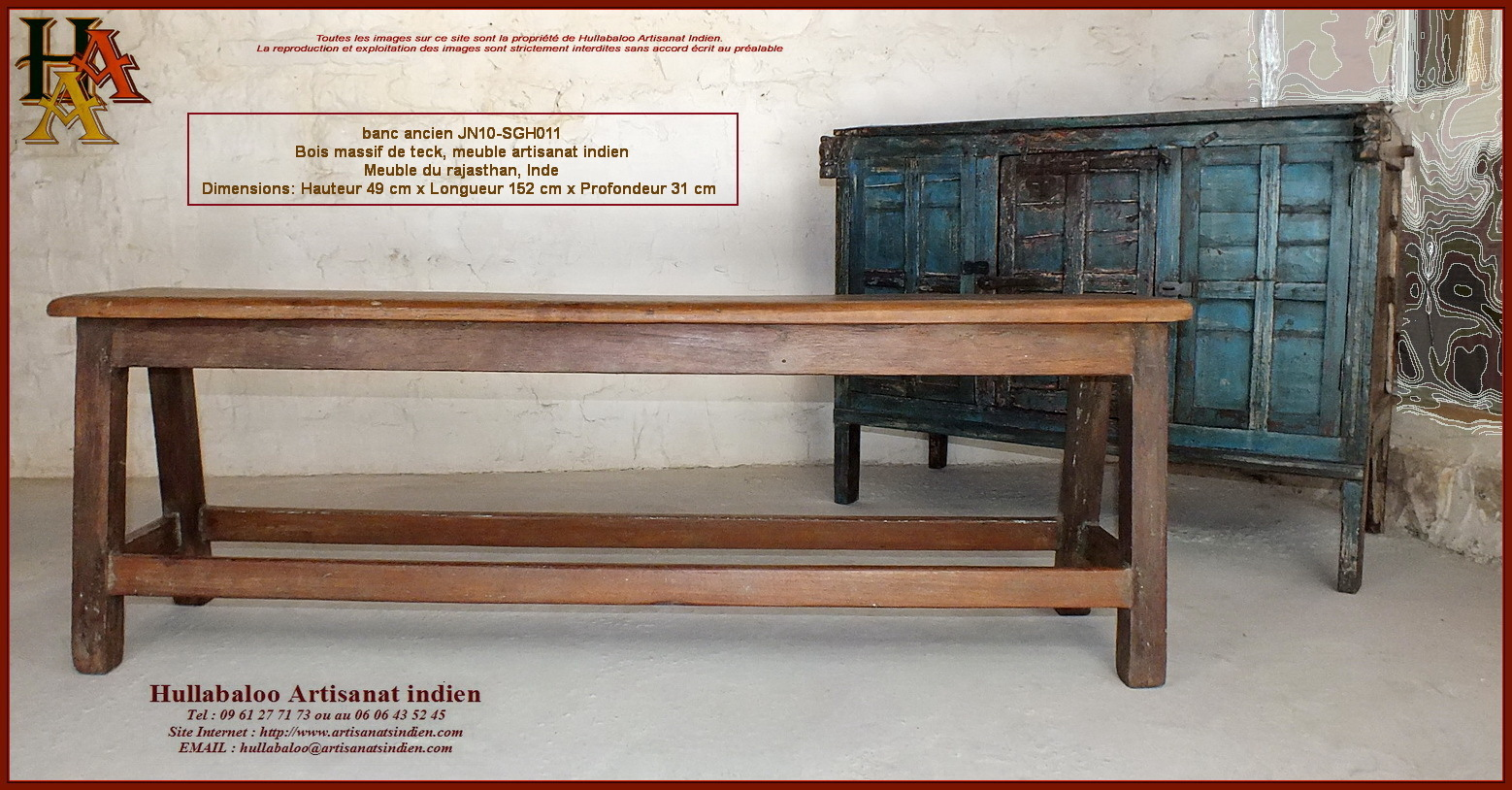 Banc Indien Ancien Jn10 Sgh011 Meubles Indiens Artisanat Dasie