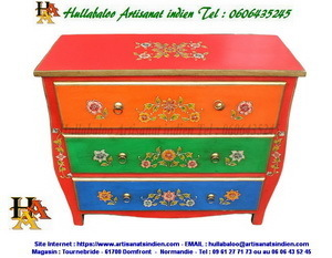 commode indienne peinte JN14-RAJNO-302